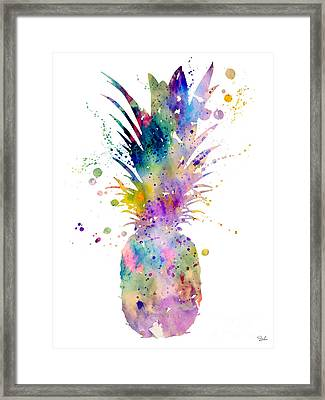 Pineapple Framed Print by Watercolor Girl