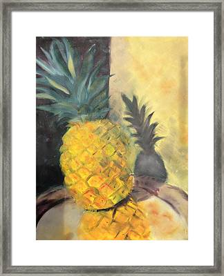Pineapple On A Silver Tray Framed Print