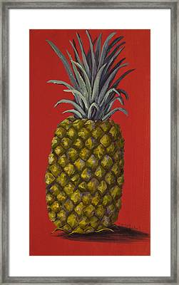 Pineapple On Red Framed Print by Darice Machel McGuire