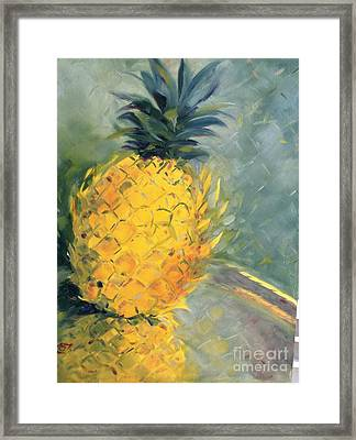 Pineapple On Soft Green Framed Print