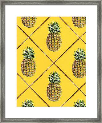 Pineapple Squared Textile Pattern Framed Print by John Keaton