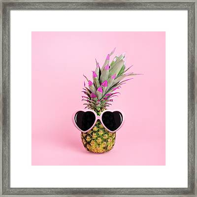 Pineapple Wearing Sunglasses Framed Print