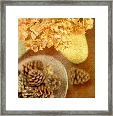 Pinecones And Hydrangae Framed Print