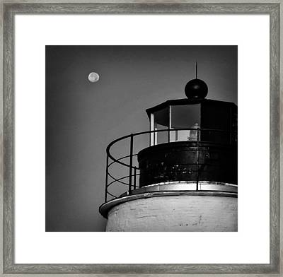 Piney Point Lighthouse And Moon In Black And White Framed Print by Bill Cannon