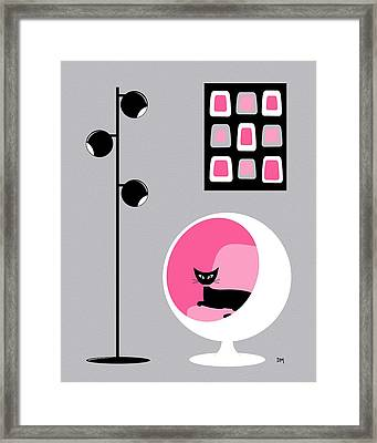 Framed Print featuring the digital art Pink 1 On Gray by Donna Mibus