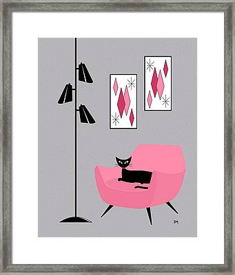 Framed Print featuring the digital art Pink 2 On Gray by Donna Mibus