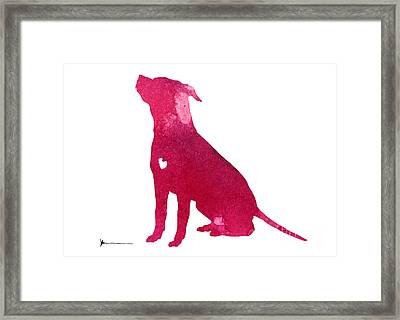 Pink Abstract Dog Large Poster Framed Print