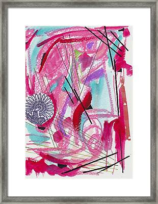 Pink And Black Lines Framed Print