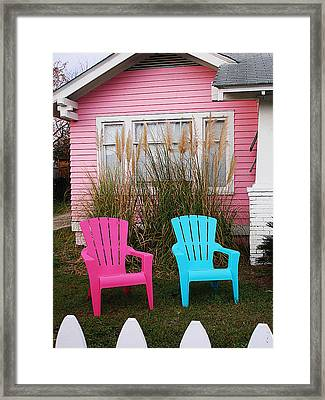 Pink And Blue Chairs By Jan Marvin Framed Print