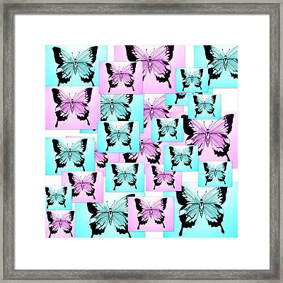 Pink And Blue Joy Framed Print by Cathy Jacobs