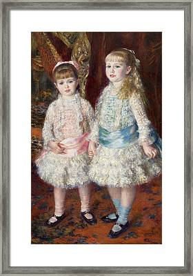 Pink And Blue Framed Print by Pierre-Auguste Renoir
