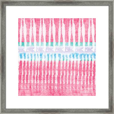Pink And Blue Tie Dye Framed Print by Linda Woods