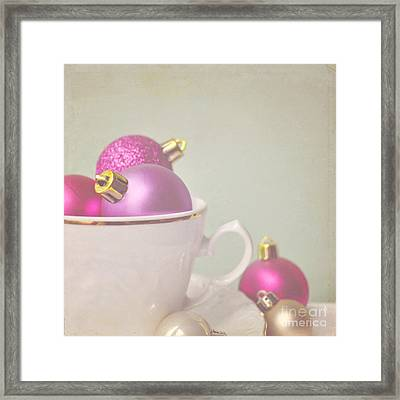 Pink And Gold Christmas Baubles In China Cup. Framed Print by Lyn Randle