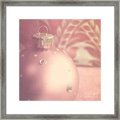 Pink And Gold Ornate Christmas Bauble Framed Print by Lyn Randle
