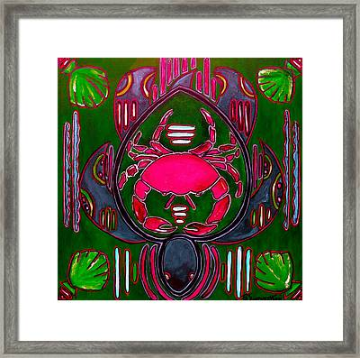 Pink And Green Crab Turtle Mola Framed Print by Patti Schermerhorn