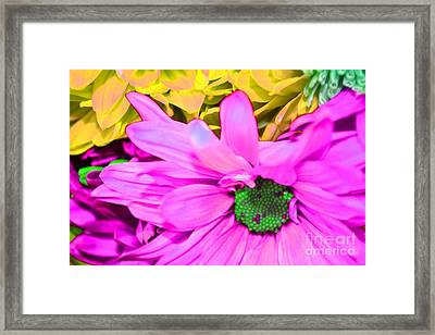 Pink And Green Flowers Framed Print by LLaura Burge