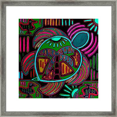 Pink And Green Turtle Palm Mola Framed Print by Patti Schermerhorn