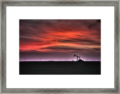 Pink And Orange Sky At Sunset Framed Print by Connie Cooper-Edwards