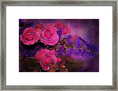 Pink And Purple Floral Bouquet Framed Print