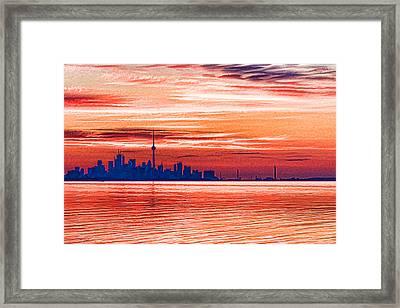 Pink And Purple Sunrise - Toronto Skyline Impressions Framed Print by Georgia Mizuleva