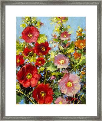 Pink And Red In The Flower Bed Framed Print by Bill Inman