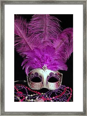 Pink And Silver Mardi Gras Mask Framed Print