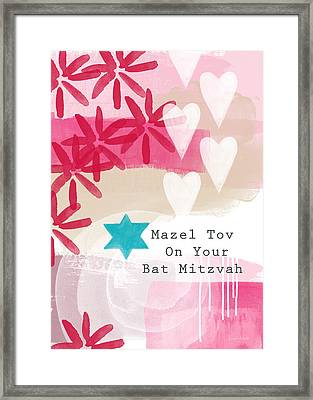 Pink And White Bat Mitzvah- Greeting Card Framed Print by Linda Woods
