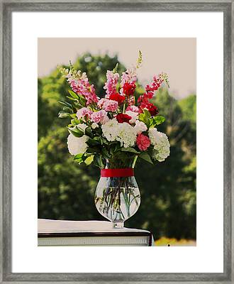 Pink And White Bouquet In Sepia Framed Print