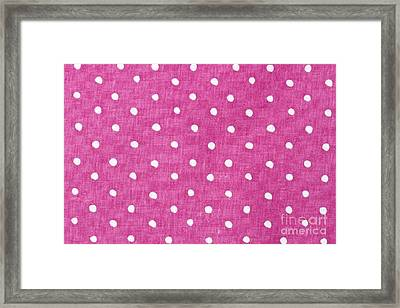Pink  And White Dots Fabric Background  Framed Print by IB Photo