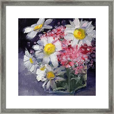 Pink And White Framed Print by Nancy Merkle