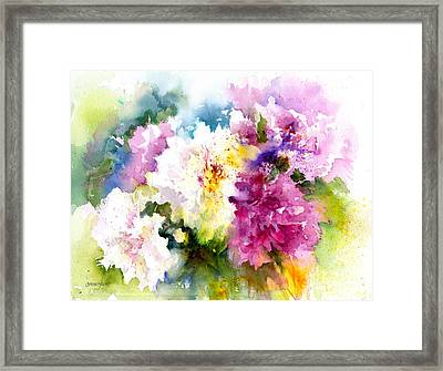 Pink And White Peonies Framed Print by Christy Lemp