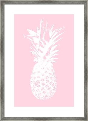 Pink And White Pineapple Framed Print