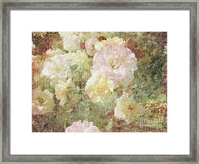 Pink And White Roses With Tapestry Look Framed Print