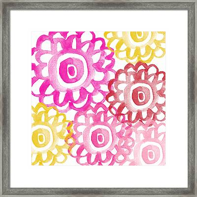 Pink And Yellow Flowers- Painting Framed Print