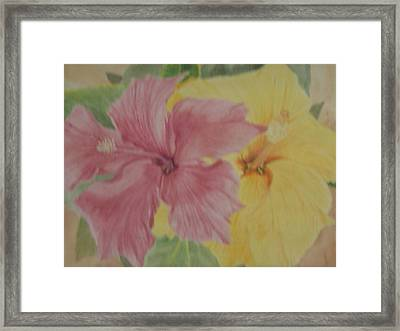 Framed Print featuring the painting Pink And Yellow Hibiscus by Hilda and Jose Garrancho