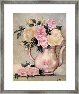 Pink And Yellow Roses In Teapot Painting Framed Print