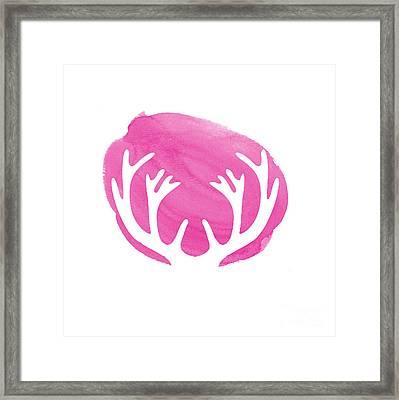 Pink Antlers Framed Print