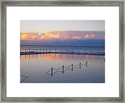 Pink At Dawn Swimming Framed Print
