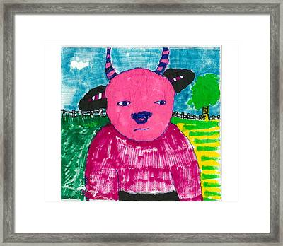 Framed Print featuring the drawing Pink Baby Bull by Don Koester