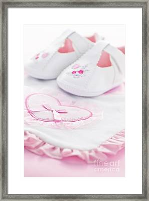 Pink Baby Girl Clothes Framed Print by Elena Elisseeva