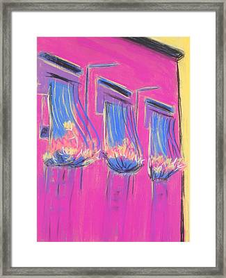 Pink Balcony Framed Print by Marcia Meade