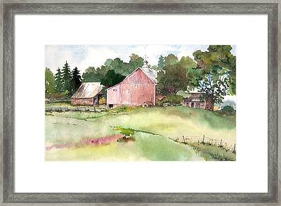 Pink Barn Framed Print
