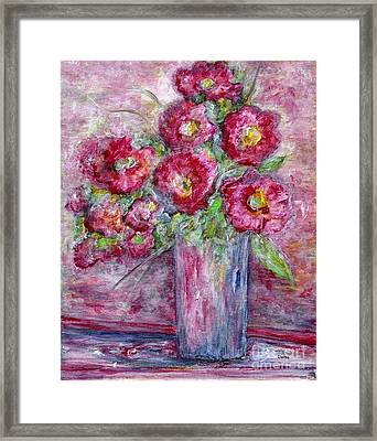 Pink Beauties In A Blue Crystal Vase Framed Print by Eloise Schneider
