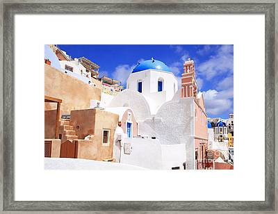 Pink Bell Tower And Blue Dome Church Framed Print by Aiolos Greek Collections