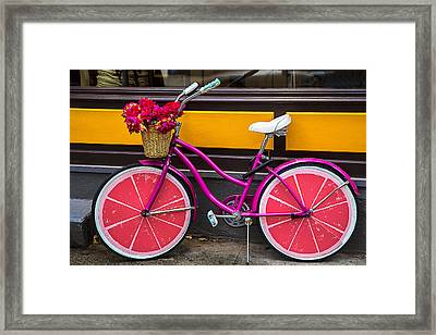 Pink Bike Framed Print by Garry Gay