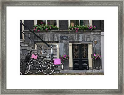 Pink Bikes Of Amsterdam Framed Print by Mary-Lee Sanders