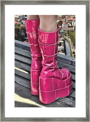 Pink Boots Framed Print by Jasna Buncic