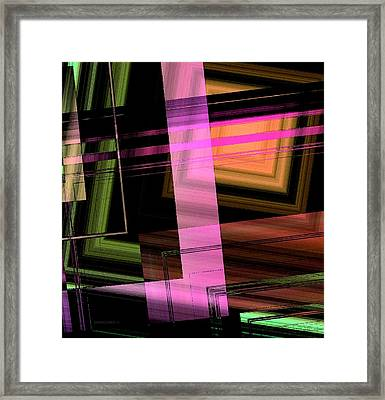 Pink Brown And Green Abstract Geometric Framed Print by Mario Perez