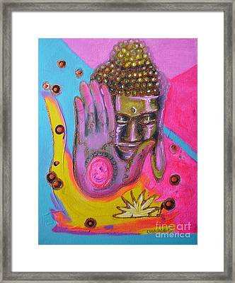 Pink Buddha Framed Print by Donna Chaasadah