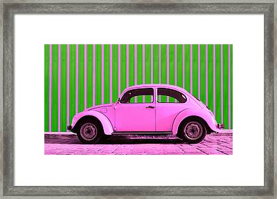 Pink Bug Framed Print by Laura Fasulo